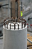 Concrete column with steel reinforcement
