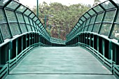 Green metallic footbridge
