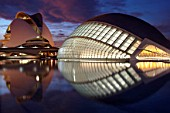 The city of arts and science. Valencia. Spain. (Ciudad de las artes y las ciencias) view with reflections in lake at dusk