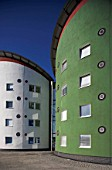 External view of the colorful exterior of student accommodation blocks of the university of East London, UK