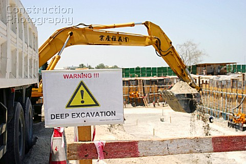 Construction Digger making foundations in Abu Dhabi
