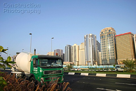 Cement truck in downtown Abu Dhabi