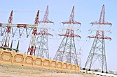 Electricity pylons, Abu Dhabi power station