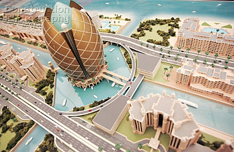 Model of a proposed new building development Dubai UAE