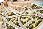 Model of a proposed new building development, Dubai, UAE
