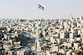 Old Town Amman, with Jordan Flag flying, Jordan