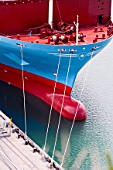 Bow of Maersk container ship in Port of Napier dock, New Zealand