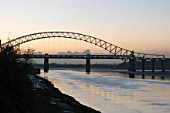 Runcorn Road Bridge and Manchester Ship Canal over the river Mersey, Cheshire, UK