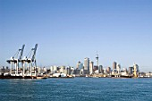 Skyline of Auckland and docks, New Zealand