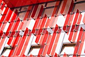 Red acrylic feature on outside of building, Reeperbahn, Hamburg, Germany.