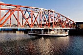Rotating former railway swing bridge at Salford Quays, Salford, Manchester, United Kingdom