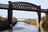Disused railway bridge over Manchester ship canal, Latchford, Warrington, Cheshire, United Kingdom