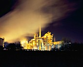 Stanlow oil refinery in Cheshire at night