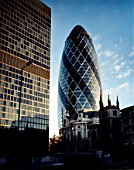 Swiss Re building, The Gherkin, City of London, United Kingdom. Designed by Norman Foster and Partners. Winner of the Stirling Prize 2004.