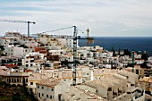 Construction of houses on a hill with seaside in Andalusia
