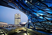 BMW WELT (BMW World), Munich, Germany. Opened in October 2007, the 100 Million Euro project boosts a Gross floor area of 73,000 m2 for an planned average of 850,000 visitors per year with striking customer lounges and events areas. Architect COOP HIMMELBLAU