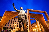 Statue of Caesar Augustus in front of Central Market, dusk, Zaragoza, Spain