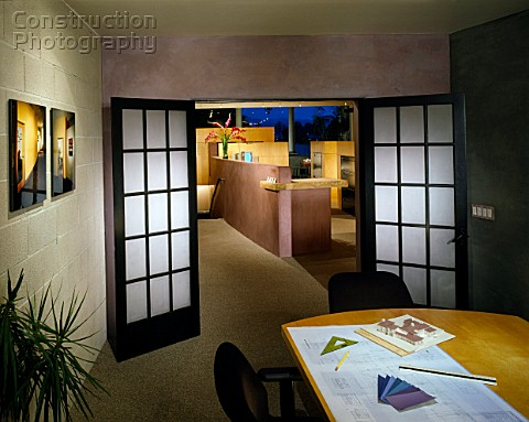 Interior view of architectural office at dusk in Santa Barbara California USA