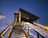 Morning light illuminates the top of the Olympic ski jump at the Olympic Winter Sports Park, in Park City, Utah. USA.
