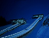Evening view of Olympic ski jumps at Park City Olympic Winter Sports Park. Utah. USA.