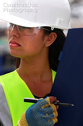 Female Site Worker Terminal 5 Heathrow Airport Construction London UK