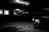 Electrician in basement, Terminal 5, Heathrow Airport Construction, London, UK