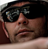 Portrait of construstion worker in safety glasses, Terminal 5, Heathrow Airport Construction, London, UK