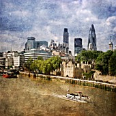London City Skyline with Gherkin and Tower of London, London, UK