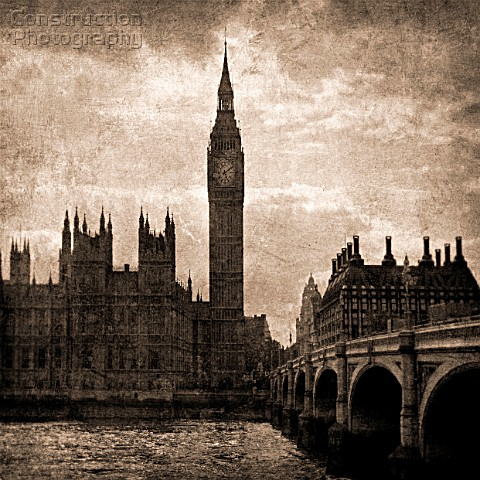 Big Ben and Westminster in Sepia Tones London UK