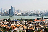 Xiamen City(old name as Amoy) with Gulang Island in foreground, Fujian province, China