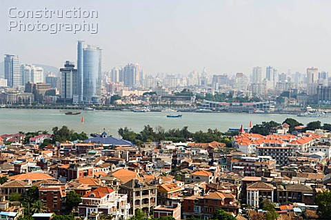 Xiamen Cityold name as Amoy with Gulang Island in foreground Fujian province China