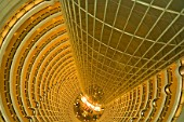 Jin Mao Building. View looking down into the atrium of the Grand Hyatt Shanghai Hotel. The hotel is inside the 88-story Jin Mao Tower in Pudongs New Economic Zone. Shanghai, China