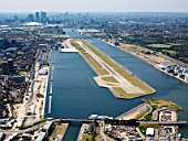 Aerial view of City Airport, London, UK