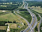 Junction 1 of M2 Motorway looking North where it becomes the A2, near Strood, Kent, UK, aerial view