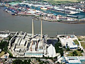 Cement factory on River Thames, Northfleet Embankment, Tilbury, Essex, UK, aerial view