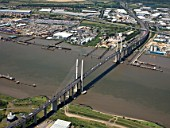 Aerial view of Dartford Bridge and River Thames, London, UK