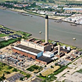 Littlebrook Oil-Fired Power Station, owned by nPower, Dartford, Thames Gateway, East London, Kent, UK, aerial view