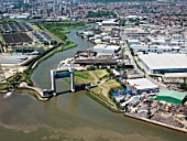Barking Creek Flood Barrier, Warpools Reach, River Thames, East London, UK
