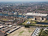 Aerial view of Royal Victoria Dock and Excel looking North towards Canning Town, Docklands, London, UK
