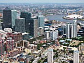 Aerial view of Canary Wharf and O2, London, UK