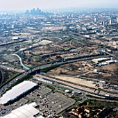 Aerial view from north over Stratford Olympic site works to City of London, UK