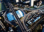 Aerial view.A40 Westway Interchange at White City, London