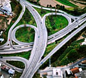Aerial view.Motorway interchange and flyover in Portugal