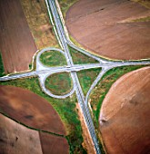 Aerial view,motorway interchange in Portugal landscape
