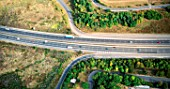 Aerial view.Motorway junction at Loughton, Essex, UK