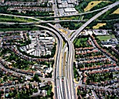Aerial view, interchange A13 and M11, essex, UK