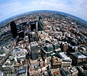 Fisheye Aerial view of the City of London, UK