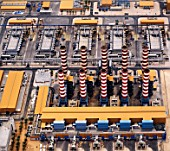 Aerial view of Liquid Natural Gas refinery with chimneys, Qatar
