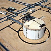 Aerial view LNG Storage tank in Qatar Liquid Natural Gas refinery near Doha