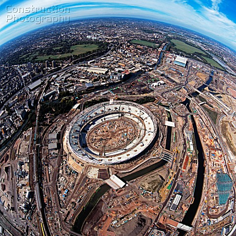 Aerial view of 2012 Olympic Stadium Stratford East London UK September 2009